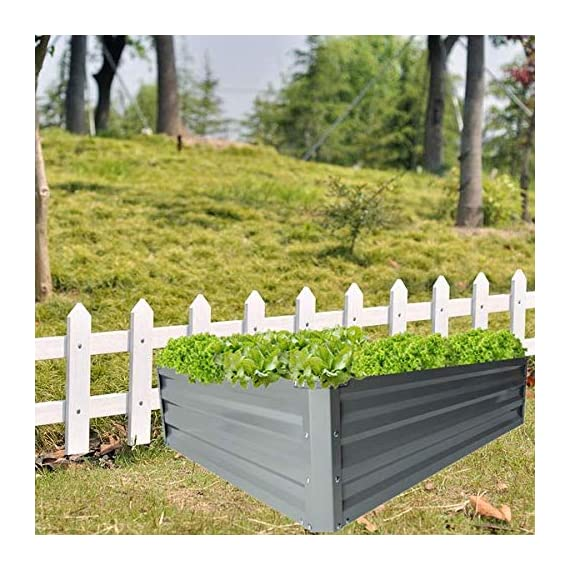 """zizin Galvanized Raised Garden Beds Kits Metal Elevated Planter Box Steel Vegetable Flower Bed Kit Bottomless for… 3 Anti-rust Galvanized Steel Planter Box: Metal raised garden bed Kit can stand the test of outdoor environment and time, not perishable and durable. Open-Bottom Garden Beds: Vegetable planter box prevents water from building up at its base,the root system of plants can grow naturally without any other restriction. Size: 47.2""""x35.4""""x11.8"""" (LxWxH), raised bed holds about 11 cubic feet soil, give the plants plenty of room to grow."""