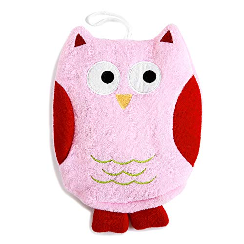 Cute Owl Puppet Bath Mitt/Scrubber Sponge for All, Baby, Kid, Toddler (Pink)