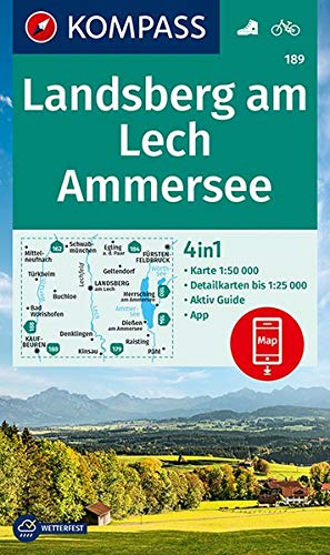 KOMPASS Wanderkarte Landsberg am Lech, Ammersee: 4in1 Wanderkarte 1:50000 mit Aktiv Guide und Detailkarten inklusive Karte zur offline Verwendung in ... (KOMPASS-Wanderkarten, Band 189)