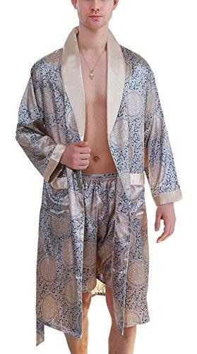 AIEOE Herren Schlafanzug Pyjama-Set Bademantel Set V-Ausschnitt Paisley Gelb und Blau L