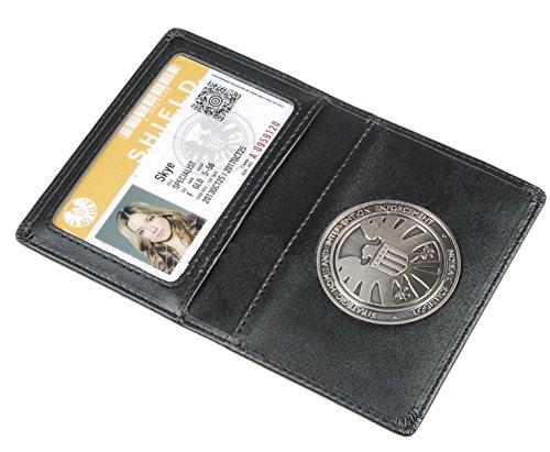 Portafoglio in pelle o porta carte d'identità Gli agenti vendicatori di S.h.l.e.l.d Scudo con badge (Skye)