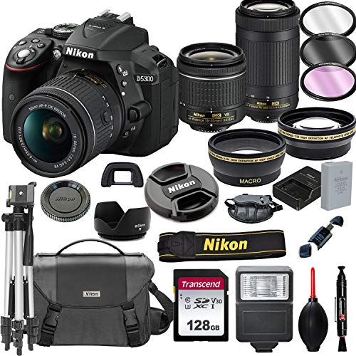 Nikon D5300 DSLR Camera with 18-55mm VR and 70-300mm Lenses + 128GB Card, Tripod, Flash, and More (20pc Bundle)