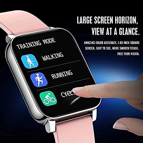 SHIJIAN Relojes inteligentes para hombres y mujeres, 1.69 pantalla táctil grande, actividad impermeable, Bluetooth fitness tracker, ritmo cardíaco, reloj deportivo negro