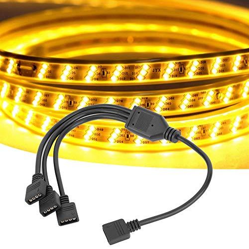 Boquite LED Splitter LED-Verteilerkabel, 4-poliger LED-Splitter für Verbindungskabel, Lichtstreifensplitter, für Zaun-Dachterrasse Lawn Yard Garden(Black 1 Point 3)