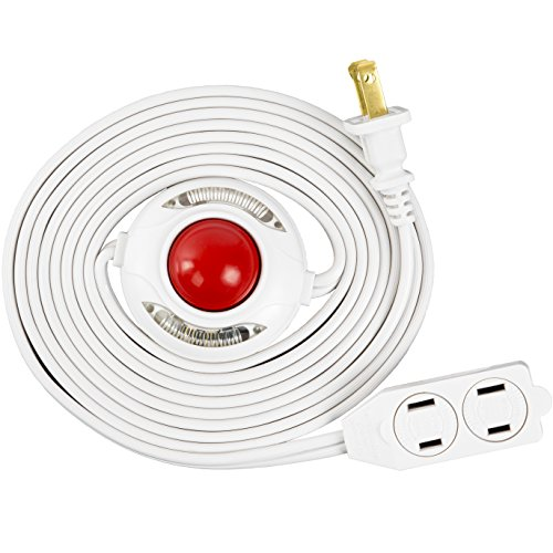Otimo Lighted Foot Switch with 9 Ft Power Cord - 3-Outlet Extension Cord - White Extension Cable