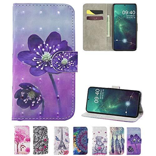 Capa carteira XYX para Mi Max 3, [Kickstand][Compartimentos para cartões] Capa protetora dobrável de couro PU com design pintado para Xiaomi Mi Max 3 - Flor roxa