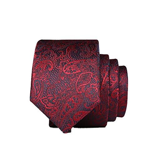 WUNDEPYTIE Rosa Krawatte Männlich Schmale Version 143 * 5Cm Kleine Krawatte Herren Bräutigam Knoten Hochzeit Geschachtelt, Dunkles Weinrot Muster