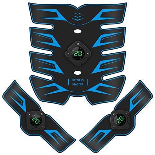 Bicidi 【2021モデル 12種類モード】 EMS 腹筋ベルト USB充電式 20段階強度 腹筋トレーニング 筋トレ器具 家トレ フィットネス器具 液晶表示 多部位対応 男女兼用 (ブルー)