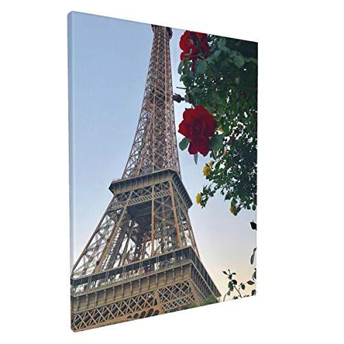 Kasonj - Lienzo decorativo para pared, diseño de Torre Eifell de París, sala de estar, dormitorio, decoración de pared, lienzo impreso estirado y enmarcado listo para colgar, 30 x 40 cm, 1 unidad