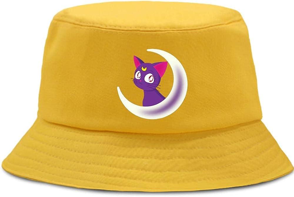 Anime Sailor Moon Bucket Hats Summer Travel Beach Sun Outdoor Cap Unisex Trendy Lightweight Fisherman Cap,22—22.8 Inch