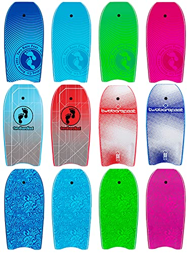 Two Bare Feet 44' Bodyboard with Leash - Adult's Boogie Board IXPE + EVA Core + Slick Bottom (Space Red)