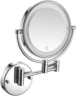 Makeup Mirror, LED Bathroom Mirror Lighted Wall Mounted Mirror Touch Screen 5X Magnification Dual Arm Extend Double Sided Round 360° Swivel Wall Mirror Concealed Install