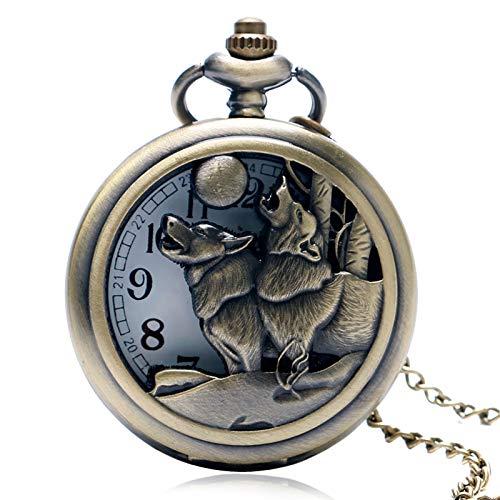 XVCHQIN Vintage Retro Doble Lobo y Luna Colgante Fresco Bronce Cuarzo Reloj de Bolsillo Hueco Collar Hombres Regalo, Bronce