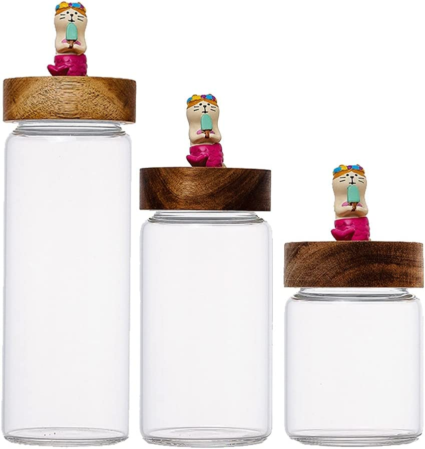 ZANZAN Clear Glass Food Jars Canisters with Don't miss the campaign New arrival Airtight Seal Ac Set