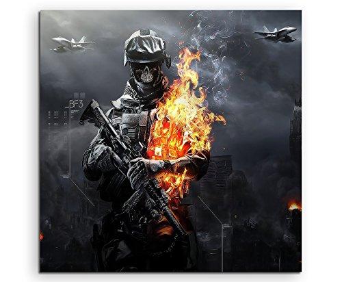 Gaming Bild 3 Zombies Leinwandbild in 60x60cm Made in Germany! Preiswerter fertig gerahmter Kunst-Druck zum Aufhängen - tolles und einzigartiges Motiv. Kein Poster oder Plakat!