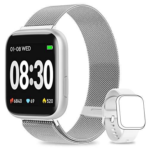 WWDOLL Smartwatch, Orologio Fitness Tracker Impermeabile da 1,4 pollici Cardiofrequenzimetro da Polso Pressione Sanguigna Contapassi Smartband Donna Uomo Smart Watch Android iOS (Argento)
