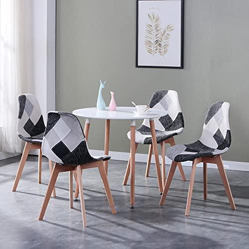 GrandCA HOME Conjunto Mesa y Sillas Comedor,Redondas Blancas Mesa Comedor, Estilo Escandinavo Mesa de Cocina and 4 Nordric Chair-Patchwork Set