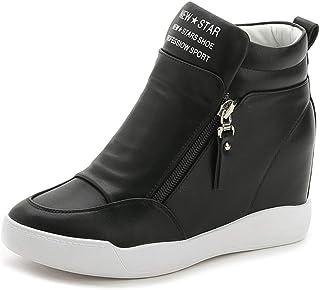 Shownicer Femme Talon Compensé Plateforme Bottillon Élégant Baskets Mode Chaussures Respirantes Chaud Chaussure de Sport S...