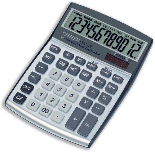 Citizen rekenmachine, desktop afgeschuind, munt, belasting, meerprijs, correctie op zonne-energie en 12-cijferige Ref CDC112
