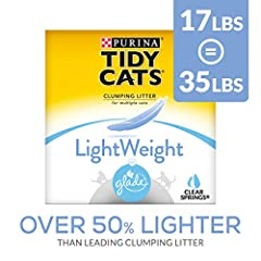 One (1) 17 lb. Box - Purina Tidy Cats Light Weight, Low Dust, Clumping Cat Litter, LightWeight Glade Clear Springs Multi Cat Litter Low dust for a clean, easy pour Ammonia Blocker prevents ammonia odor from forming for at least two weeks when used as...