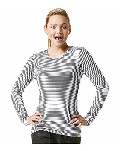 WonderWink 'Long Sleeve Striped Tee' Tees & Sub-Scrubs Pewter/White Small