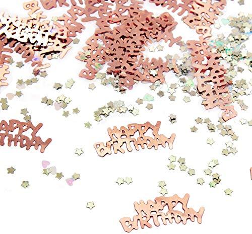 Oblique Unique® Konfetti Set 500 STK. Happy Birthday + Sterne + Herzen - Tisch Deko für Geburtstag Party Kindergeburtstag in Roségold
