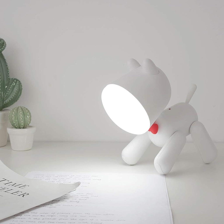 お祝い頼む警報ナイトライト 漫画ナイトライトペットテーブルランプusb充電ランプ寝室のスリープランプ子供の目ランプベッドサイドランプはギフトとして使用することができます QDDSP (Color : White)