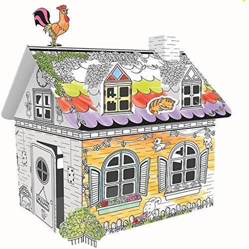 FSFF Casa de Juegos corrugada para Colorear Casa de Dibujos Animados Casa de Juego fácil, Fuerte, Duradera, Plegable, para Juegos de Actividades de interacción Entre Padres e Hijos (tamaño: 32.5X