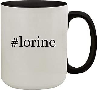#lorine - 15oz Hashtag Colored Inner & Handle Ceramic Coffee Mug, Black