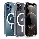 AICase Transparente Phone 12 Hülle Phone 12 Pro Hülle mit integriertem Magneten für 6,1 Zoll 2020