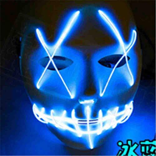 AYLWKS Halloween EL Lichtgevende Masker Horror Grimace Bloedige EL draad Halloween Carnaval Party Club Bar DJ Gloeiende Full Face Maskers