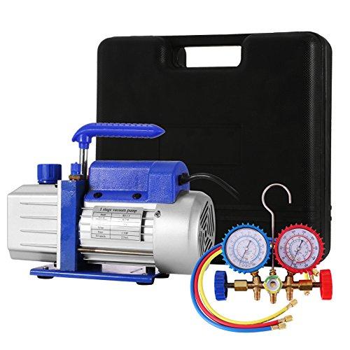 HODOY 4CFM 1 / 4HP Pompa per vuoto del refrigerante Kit HVAC Pompa per vuoto a singola fase CA con 1 valvola A/C Set di misuratori per refrigerante Aria condizionata refrigerante (4CFM1/4HP)