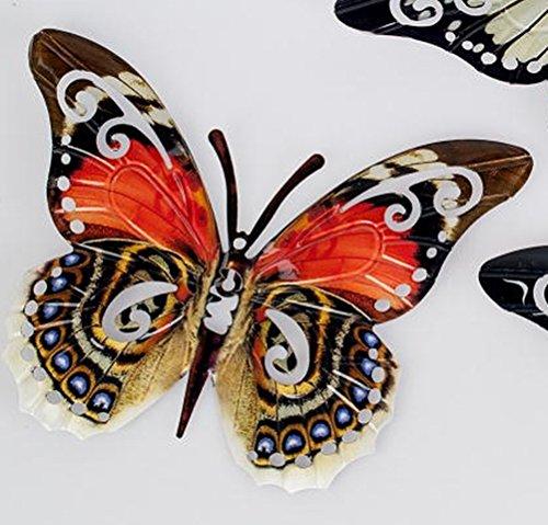 Formano extravagante Wanddeko Wandbild Wandornament Schmetterling Metall rot, 35 cm