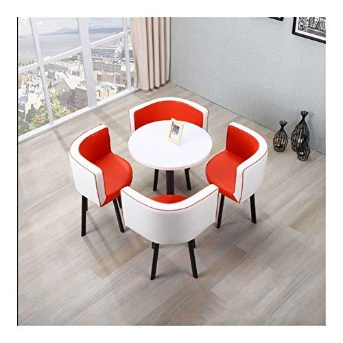 TXOZ-Q Einfacher 5-teiliges Kaffee Sofa Sitz Moderne Rund Verhandeln Heim Tisch Stuhl Kombination Rezeption Freizeit Leder Büro Lounge