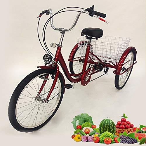 Aohuada 24' 3 Wheels Bike Adult Tricycle Seniors Shopping Cargo Trike 6 Speed...
