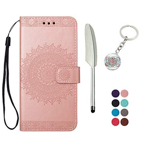 KM-Panda - Funda Tipo Cartera para Samsung Galaxy S6 (Piel sintética, Tarjetero, Llavero, Pluma), Color Dorado Rosa