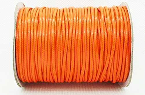 ORANGE 2mm Faux Imitation Leather Polyester Braided Cord Macrame Bracelet Thread Artisan String (100yards Spool)