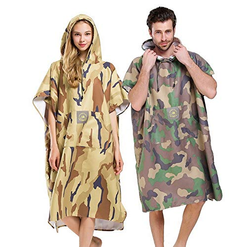 Wetsuit Veranderen Towel Robe microvezel Beach Surf Poncho met Hood Camouflage Adult Mouwen strandlaken for surfen zwemmen Bathing (Color : TYPE-A)