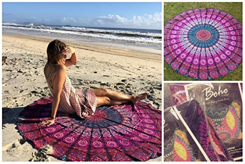 The Boho Street Marque Coton Mandala Cakes Rond, Plage Throw, Indian Mandala Tapisserie, Tapis de Yoga, Tapis de Pique-Nique, jeté de Table