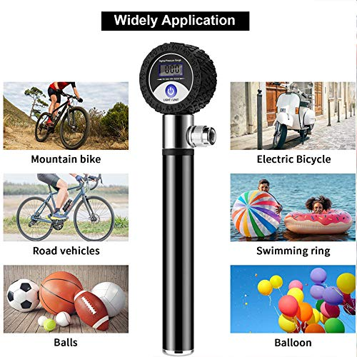Mini Bike Hand Pump, Portable Frame Mounted Aluminum Bicycle Foot Activated Tire Air Pump Fits Presta & Schrader Valve,120 PSI High Pressure Gauge Bike Tyre Inflator for Road Mountain BMX Bikes,Balls