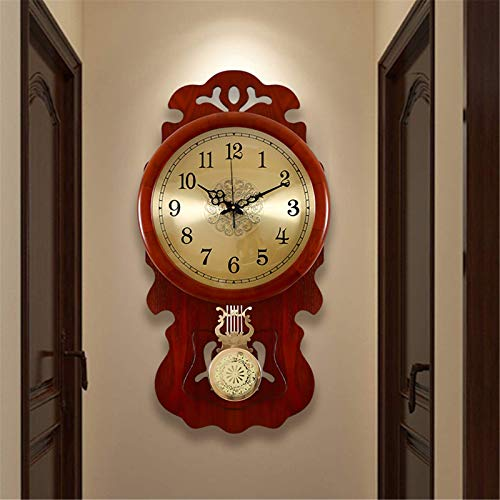 NBVCX Decoración de Muebles Reloj de Pared Vintage Madera de Lujo Diseño Moderno Sala de Estar Gran péndulo Reloj de Cuarzo Columpio Slient Gran decoración del hogar Grande
