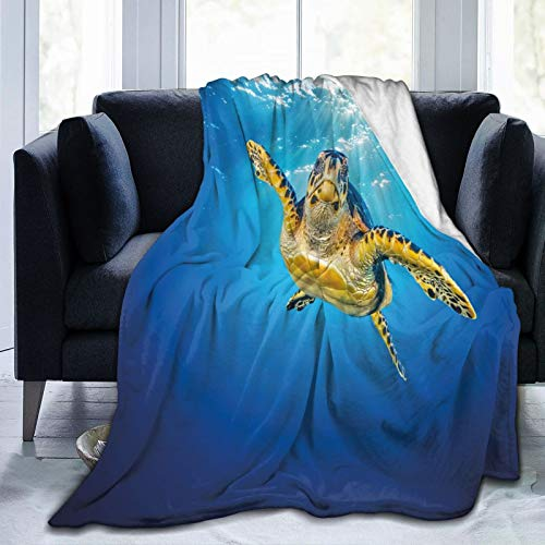 KOSALAER Bedding Manta,Lámina de natación Turtle Blue Waters,Mantas cálidas de Sala de Estar/Dormitorio Ultra Suaves para Todas Las Estaciones