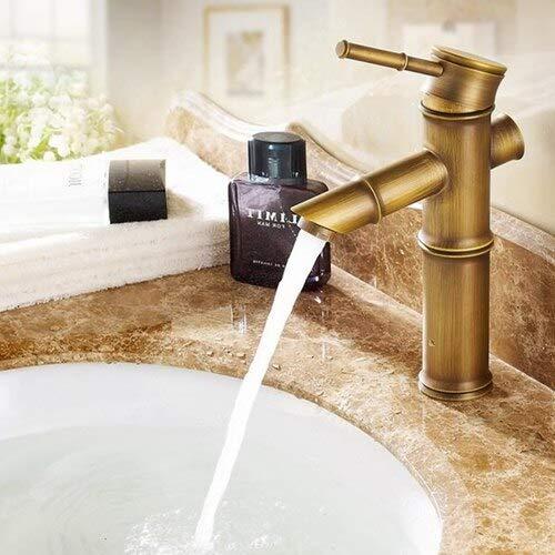 Cascada de latón antiguo Grifo de lavabo de baño Vaso Mezclador de grifo de agua de bambú alto Grifo de lavabo de un solo orificio frío y caliente