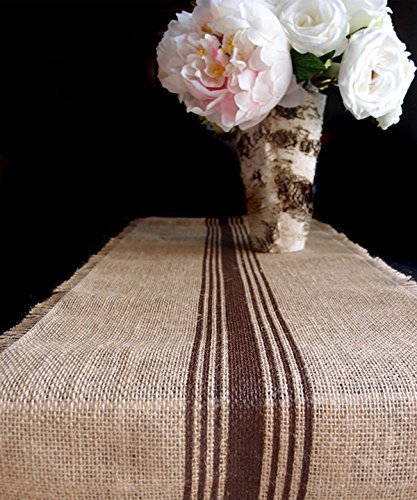 "AK-Trading 12.5"" Inches X 108 Inches Burlap Table Runner with Stripes (Brown)"