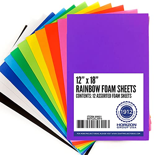 Horizon Group USA Rainbow Foam Sheets, 12' X 18', Pack of 12, Multi-Color