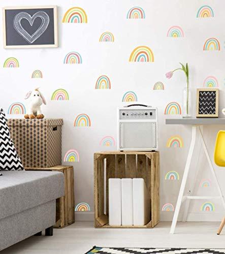 52 Stück Bunte Regenbogen Wandsticker | DIY Cartoons Kinder Wandsticker | Wandtattoo für Mädchen Kinderzimmer | Aquarell Wandaufkleber Wanddeko für Schlafzimmer Klassenzimmer Babyzimmer Spielzimmer