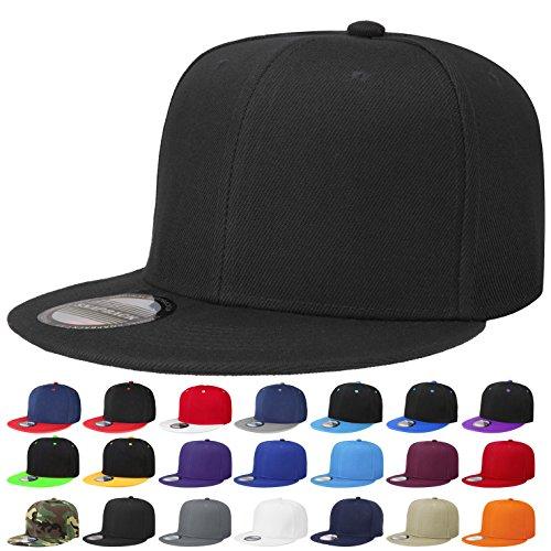 Falari Snapback Hat Cap Hip Hop Style Flat Bill Blank Solid Color Adjustable Size G201-01-Black