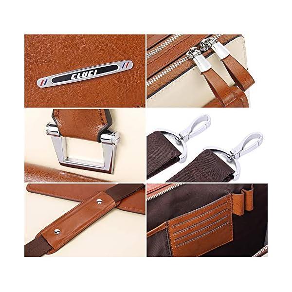 "CLUCI Women Oil Wax Leather Briefcases Slim Large Business 15.6"" Laptop Vintage Shoulder Bag for Men 5"