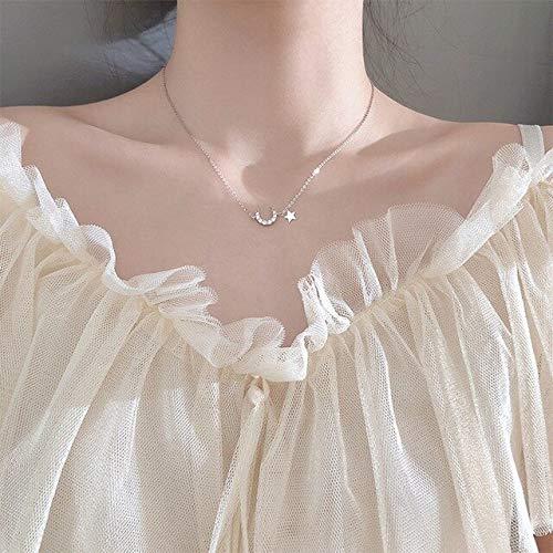BJGCWY Collar de circonita de Plata de Ley 925 Elegante Collar de Fiesta Sexy de Estrella y Luna para Mujer joyería Fina de Lujo China Color Plata