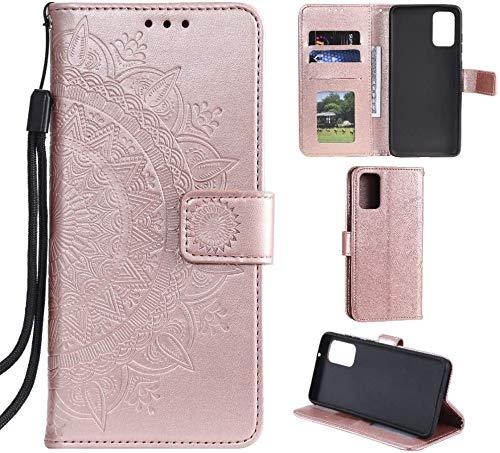 CoverKingz Handyhülle für Samsung Galaxy S20 [6,2 Zoll] - Handytasche mit Kartenfach S20 Cover - Handy Hülle klappbar Motiv Mandala Rosegold